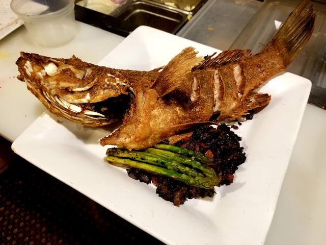 Ponzu marinated fried whole fish