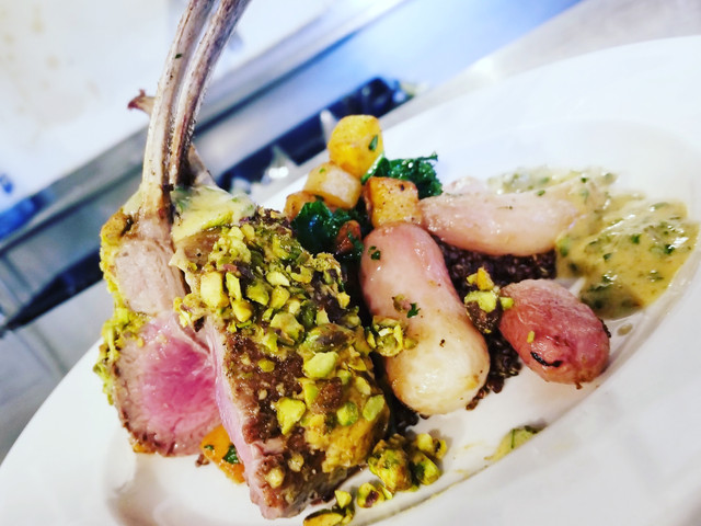 Pistachio and dijon crusted lamb rack