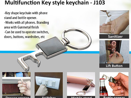 Multifunction Key style keychain with large branding area | Covid Key J-103