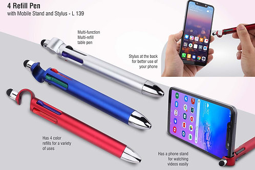 4 refill pen with mobile stand and stylus L-139