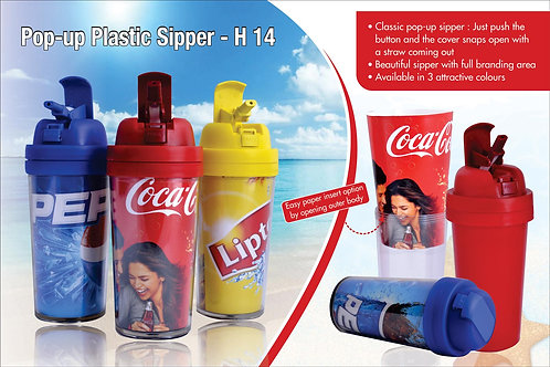 Pop-up plastic sipper (paper not included) H-14