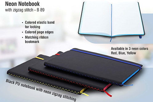 Neon notebook with zigzag stitch B-89
