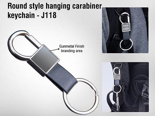 Round style hanging carabiner keychain (with PU strap)   Gunmetal finish J-118