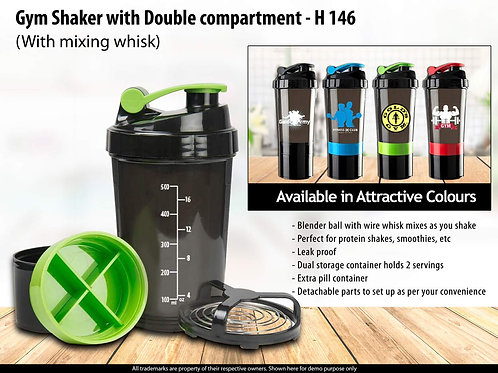 Spider shaker with Double compartment and mixing whisk H-146