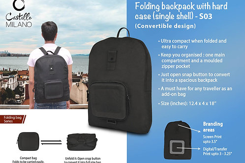Folding backpack with hard case (single shell) by Castillo Milano S-03