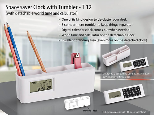 Space saver clock with Tumbler (with detachable world time calculator) T-12