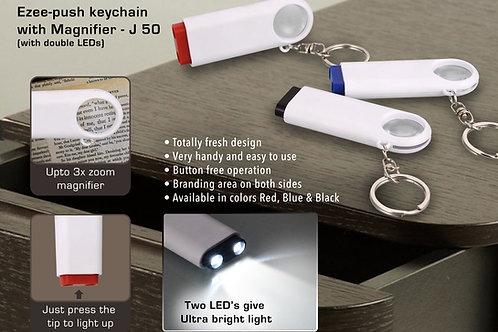 Double LED Ezee-push keychain with Magnifier J-50