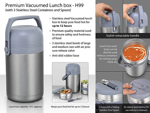 Premium SS Lunch box with 3 SS containers and spoon H-99