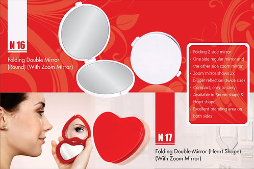 Folding double mirror (Heart shape) (with zoom mirror) N-17