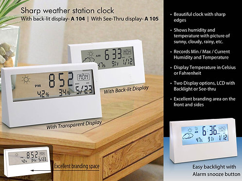 Sharp weather station clock with backlight A-104