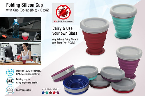 Folding silicon cup with cap (collapsible) E-242