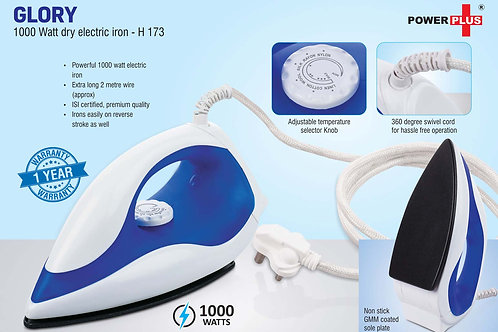 Glory: 1000 Watt dry electric iron by Power Plus | 1 year warranty H-173