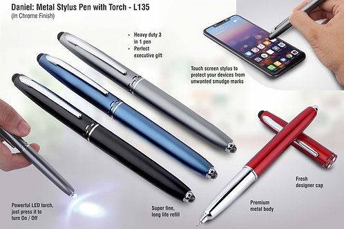 Daniel: Metal stylus pen with torch (chrome finish) L-135