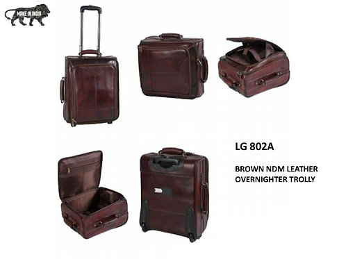 Brown NDM Leather Overnighter  Trolly CI-LG-802A