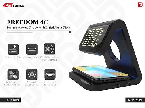 FREEDOM 4C Desktop Wireless Charger with Digital Alarm Clock POR-1043