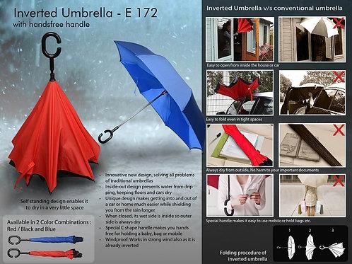 Inverted umbrella with handsfree handle E-172