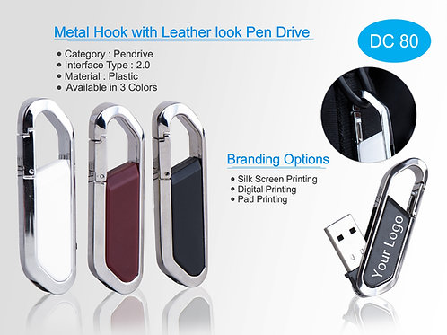 Metal Hook with Leather look Pen Drive DC-80