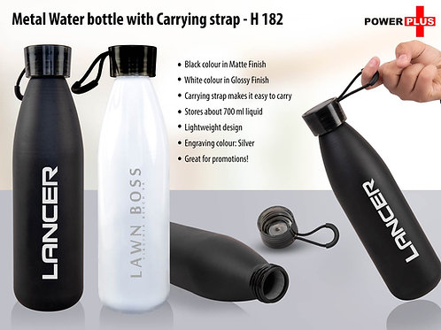 Metal water bottle with carrying strap (700 ml approx) H-182