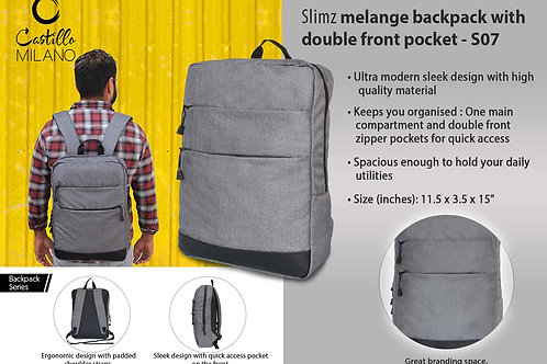Slimz gray backpack with double front pocket by Castillo Milano S-07