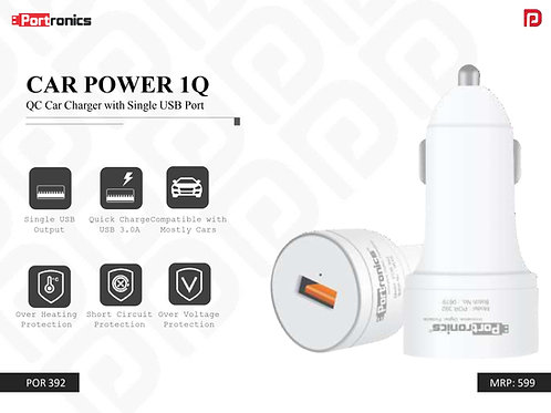 CAR POWER 1Q QC Car Charger with Single USB Port POR-392