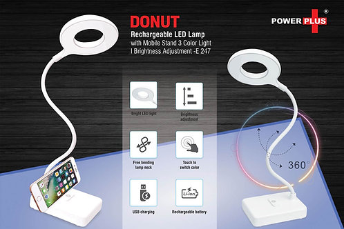 Donut Rechargeable LED lamp with mobile stand | 3 Color light | Brightnes E-247