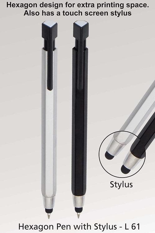 Hexagon pen with stylus L-61