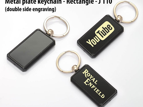 Metal plate keychain   Rectangle (double side engraving) J-110