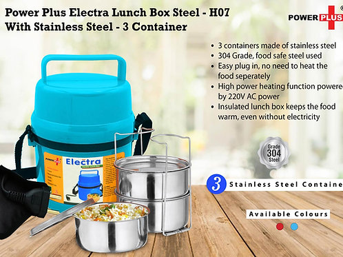 Power Plus Electra Lunch Box Steel | 3 Container H-07