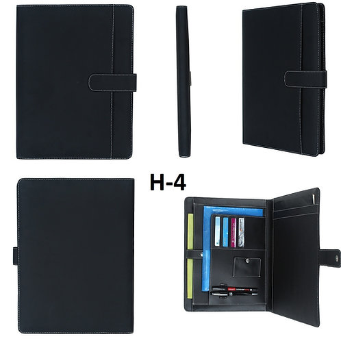Conference Folder-Black With White Stich H-04