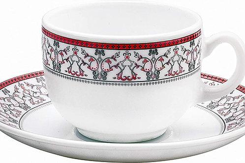LaOpala Glass Cup Saucer Set of 12 Pcs Moroccan Pink CI-LO-33