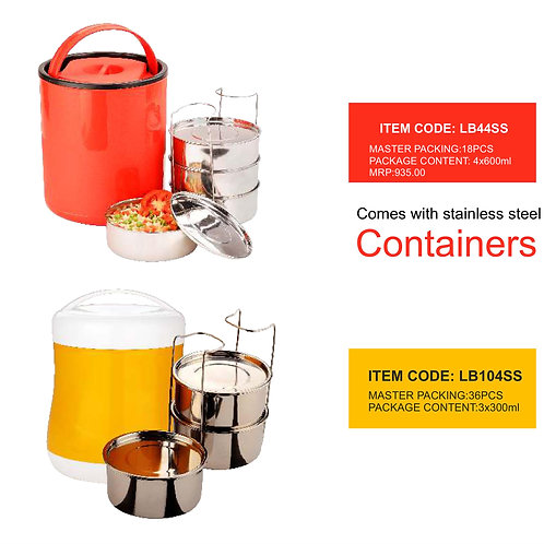 Glam Lunch  Box with 3 SS Container CI-JMD-78