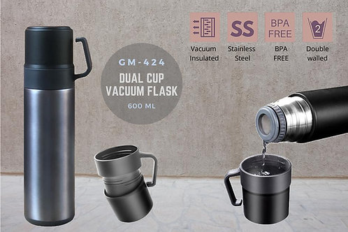 DOUBLE WALL VACUUM FLASK WITH 2 CUPS (600 ML) GM-424