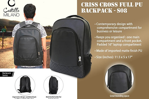 Criss Cross Full PU backpack by Castillo Milano S-08