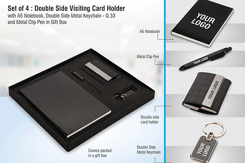 Set of 4: Double side visiting card holder with A5 notebook, Double side Q-33