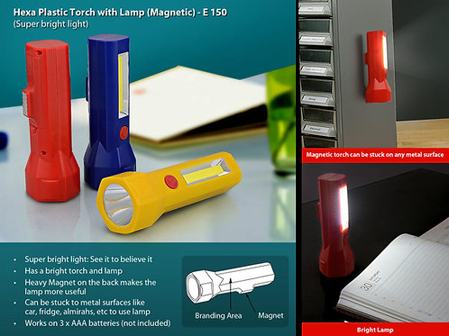 Hexa plastic torch with lamp (magnetic) E-150