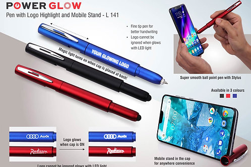 PowerGlow pen with logo highlight and mobile stand L-141
