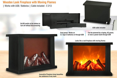 Wooden look Fireplace with moving flames E-213