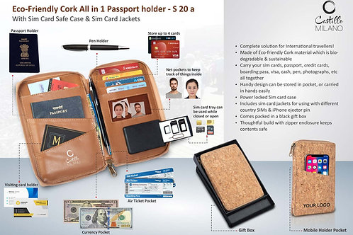Eco-Friendly Cork All in 1 Passport holder With Sim Card Safe Case S-20a