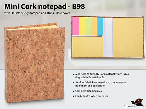 Mini Cork notepad with Double Sticky notepad and strips | Hard cover B-98
