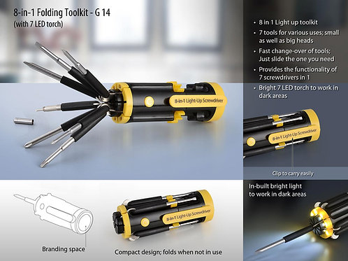 Folding toolkit with 4 LED torch G-14