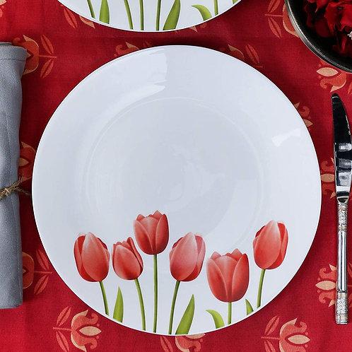 LaOpala Tulip Garden Dinner Plate, White -Set CI-LO-29