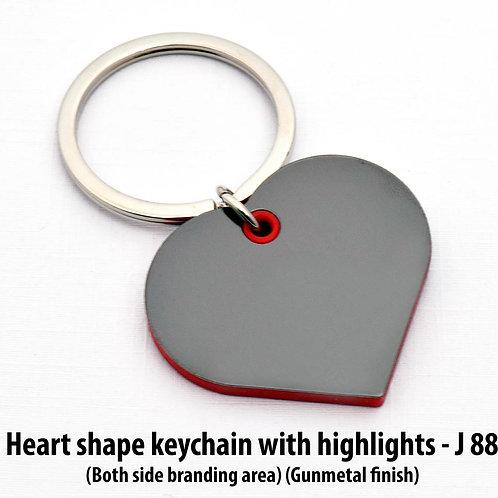 Heart shape keychain with highlights J-88