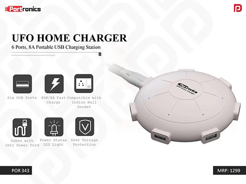 UFO HOME CHARGER 6 Ports, 8A Portable USB Charging Station POR-343