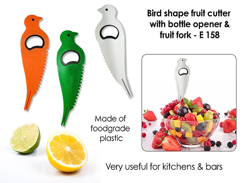 Bird shape fruit cutter with opener and fruit fork E-158