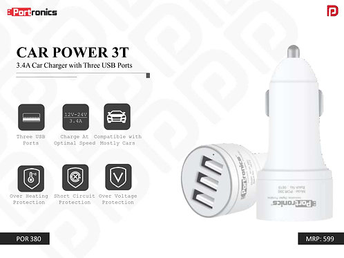 CAR POWER 3T 3.4A Car Charger with Three USB Ports POR-380