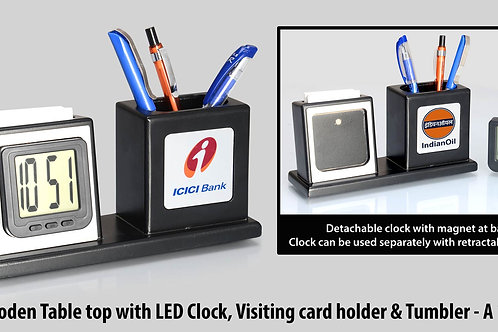 Wooden Table top with Detachable LED Clock, Visiting card holder and A-119