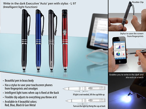 Write in the dark executive 'Auto' pen with stylus (brass body) L-97