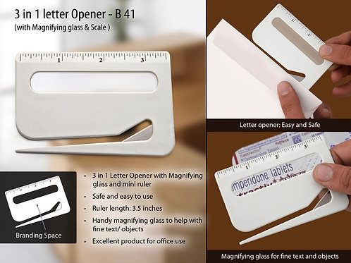 Letter opener with magnifier & ruler B-41