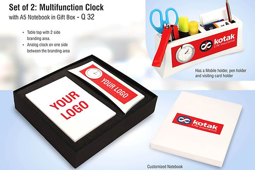 Set of 2: Multifunction clock with A5 notebook in gift box Q-32
