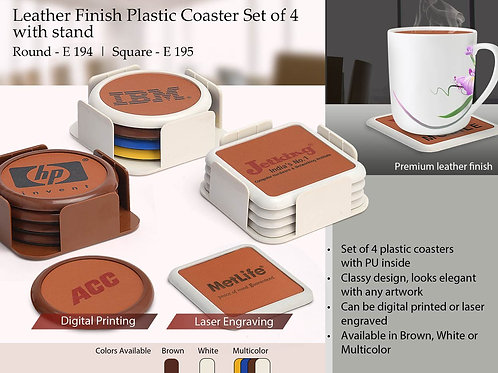Leather finish Plastic coaster set of 4 with stand E-195